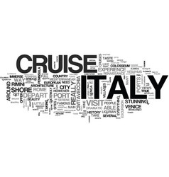 Italy cruise guide text background word cloud vector