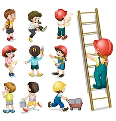 Kids working vector image