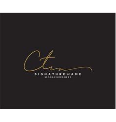 Letter ct signature logo template vector