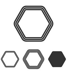 Line hexagon logo design set vector image