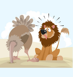 lion and ostrich vector image