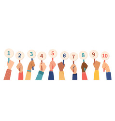 long line diverse hands holding up numbers vector image