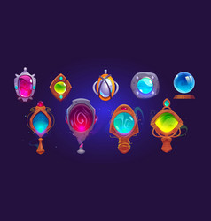 Magic amulets mirrors and glass sphere vector
