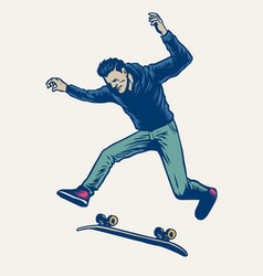 Man doing skateboard trick drawn in vintage hand vector
