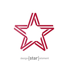 Monocrome red star from ribbon vector
