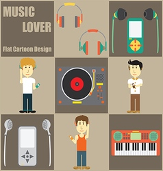 Music Lover People Flat Cartoon vector image