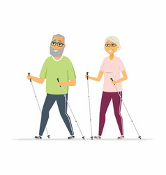 nordic walking - cartoon people character isolated vector image