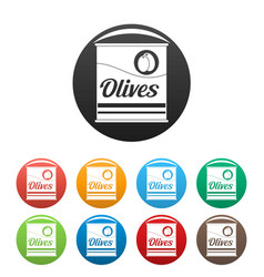 olives can icons set color vector image