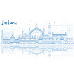 outline lucknow skyline with blue buildings and vector image