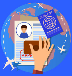 Passport or visa application travel immigration vector
