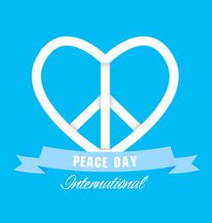 peace day international ribbon heart peace symbol vector image