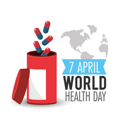 Pills treatment to world health day vector