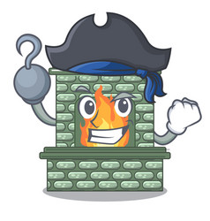 Pirate character fireplace with red brick inside vector