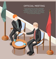 Politicians official meeting isometric background vector