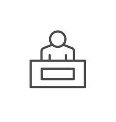 reception desk line outline icon vector image