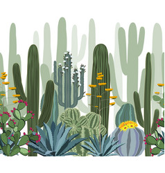 Seamless pattern with cactus agave and opuntia vector