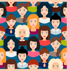 seamless pattern with female faces background vector image