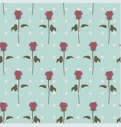 seamless patterns pink roses retro dots vector image