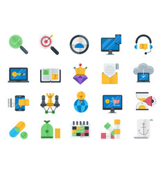 Seo and web optimization icons set vector