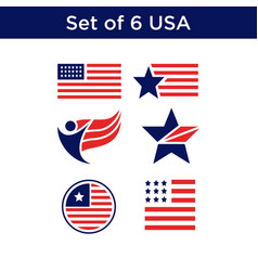 Set of 6 united state of america vector