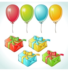 Set of colorful balloons and gifts with details vector image