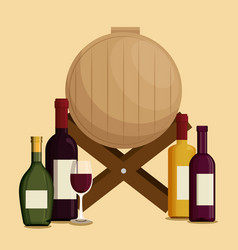 Set red wine bottles and barrel vector
