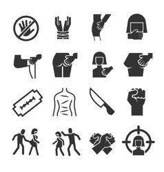 Sexual abuse harassment violence icons vector