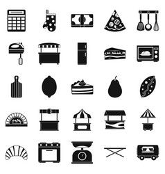 Shop with buns icons set simple style vector