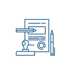 Signing a contract line icon concept signing a vector