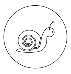 snail icon black color in round circle vector image