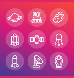 space line icons set vector image