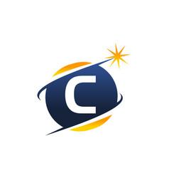 Swoosh logo letter c vector