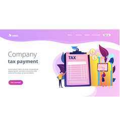 Tax form concept landing page vector