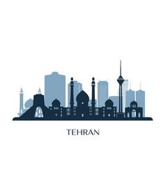 Tehran skyline monochrome silhouette vector