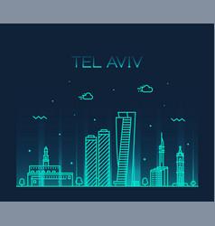 Tel aviv skyline israel linear style vector