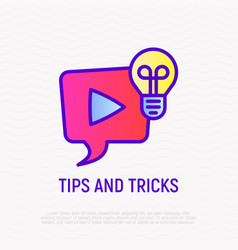 tips and tricks thin line icon video vector image