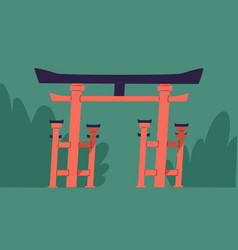 traditional japanese symbolic gates with roand vector image