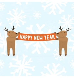 Two cartoon deers holding Happy new year sign vector image
