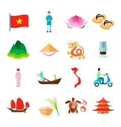 Vietnam icons set vector