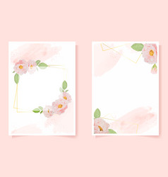 watercolor pink english rose with golden frame on vector image