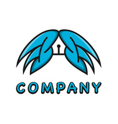 wing logo and pen design template vector image