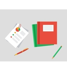 Work Table Tablet and Document Design Flat vector image