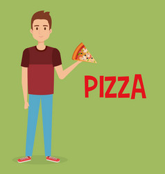 young man with italian pizza portion vector image