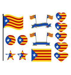 catalonia flag set collection of symbols heart vector image vector image
