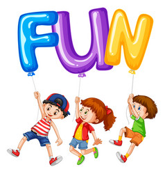 children and balloons for word fun vector image