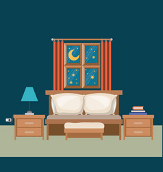 Color background of bedroom with window in the vector