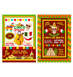 mexican cinco de mayo party invitation banner vector image vector image