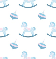 Seamless pattern of rocking horse vector