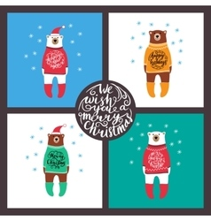 set of cards with the bears Christmas vector image vector image