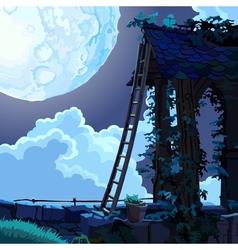 Cartoon fairy house in the sky on a moonlit night vector